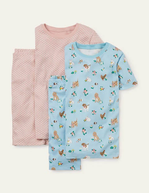 Twin Pack Short John Pajamas - Blue Pets/ Pink Spot