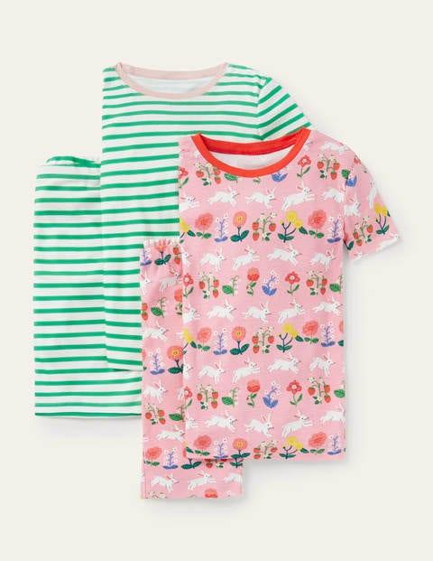 Twin Pack Short John Pajamas - Boto Pink Bunny/ Green Stripe