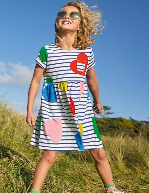 Fun Jersey Dress - Multi Hearts
