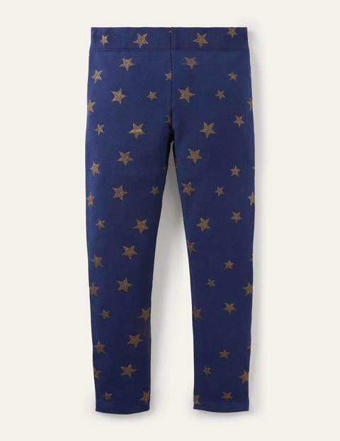 Fröhliche bequeme Leggings - Schuluniform-Navy, Goldene Sterne