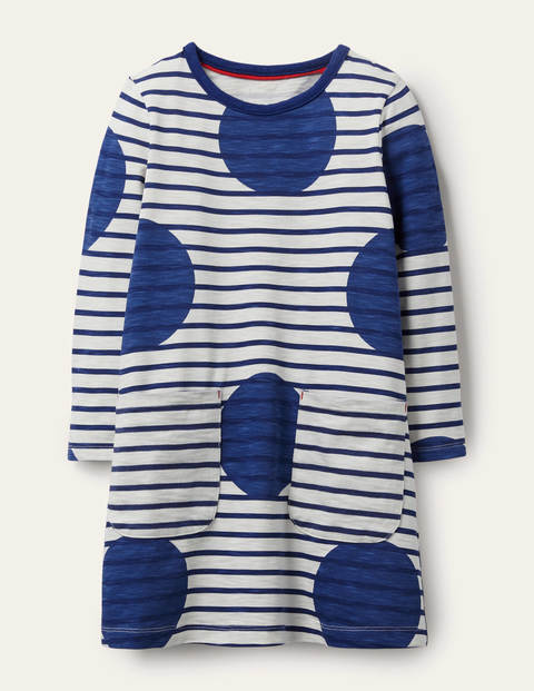 Fun Pocket Jersey Dress - Starboard Blue Jumbo Spot