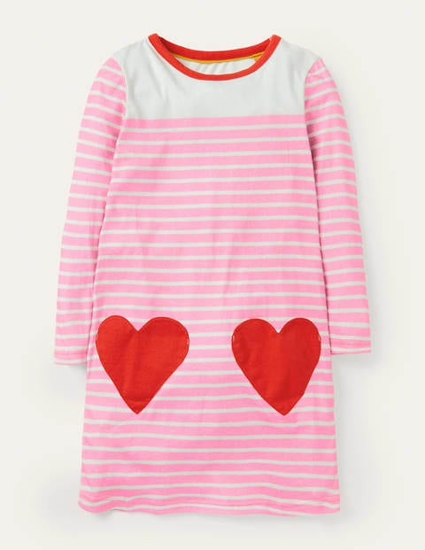 Fun Pocket Jersey Dress - Pink Lemonade Heart Pocket