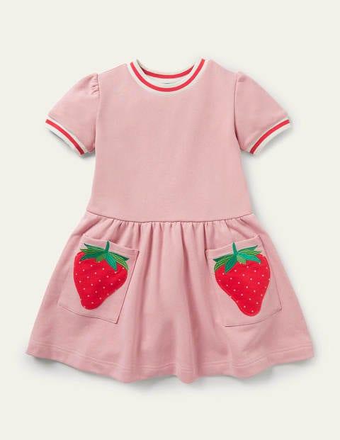 Jerseykleid mit Taschen-Applikation - Delfinrosa, Erdbeere