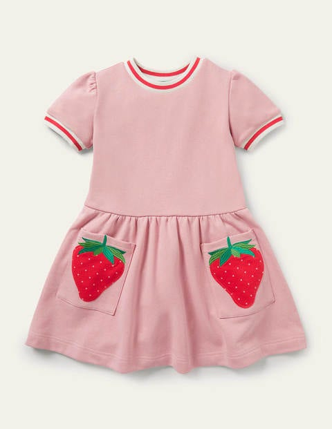 Appliqué Pocket Jersey Dress - Boto Pink Strawberry