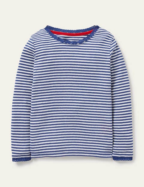 Supersoft Pointelle T-shirt - Starboard Blue/Ivory