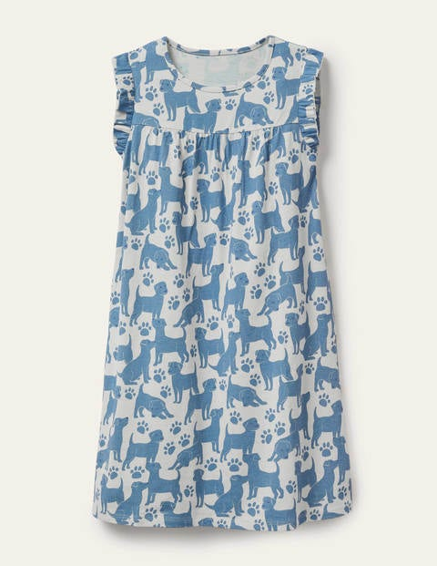 Printed Short-Sleeved Nightie - Blue Playful Pups