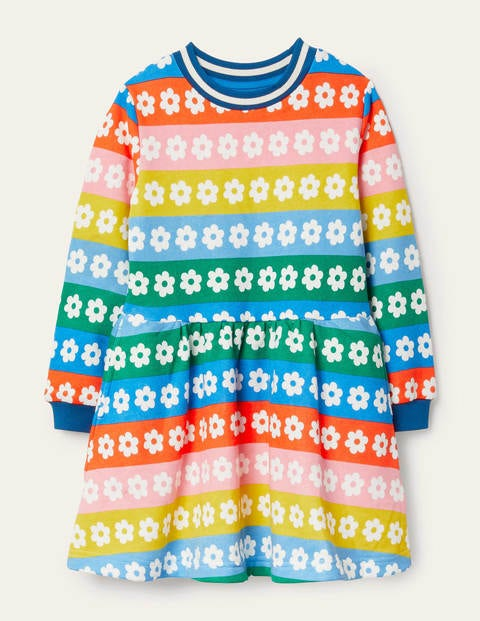 Gemustertes Sweatshirt-Kleid - Regenbogenfarben, Gestreift/Gänseblümchen