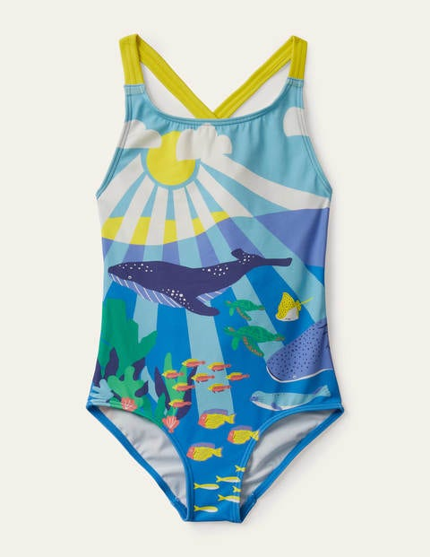 Cross-back Swimsuit - Aqua Blue Reef Scene
