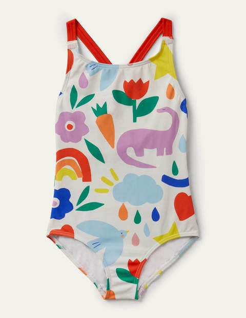 Cross-back Swimsuit - Ivory Multi Happy Dino