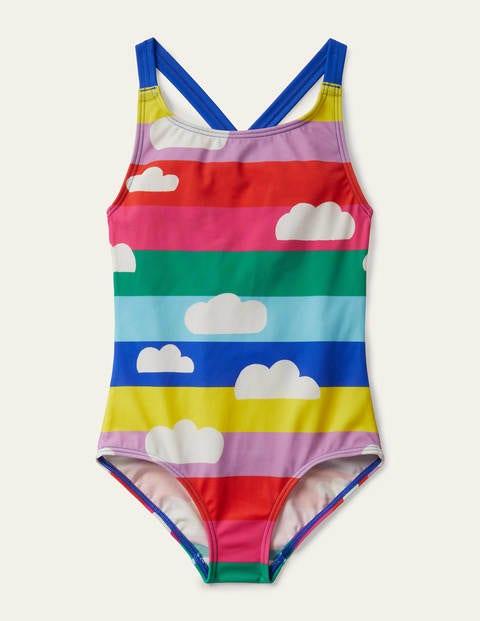 Cross-back Swimsuit - Multi Rainbow Clouds