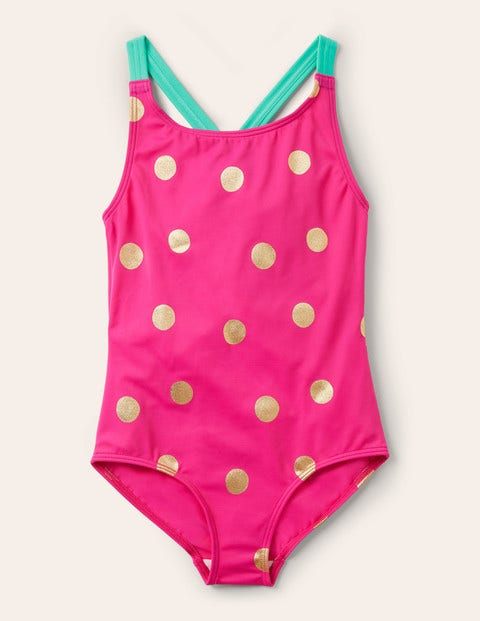 Cross-back Swimsuit - Fuchsia Pink Gold Spot