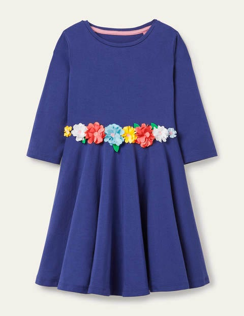 Flutter Flower Twirly Dress - Starboard Blue Flowers