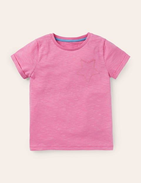 Star Pocket Slub T-Shirt - Plum Blossom Pink