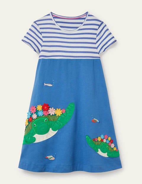 Jerseykleid mit Meeresapplikation BLU Mädchen Boden, BLU