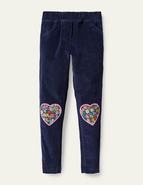 Legging en velours côtelé à appliqués - Cœurs bleu marine universitaire