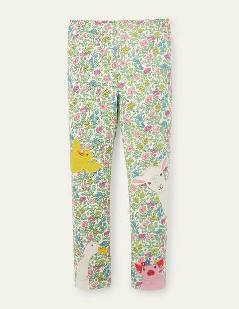 Fun Appliqué Leggings - Vintage Flower Peeking Animals