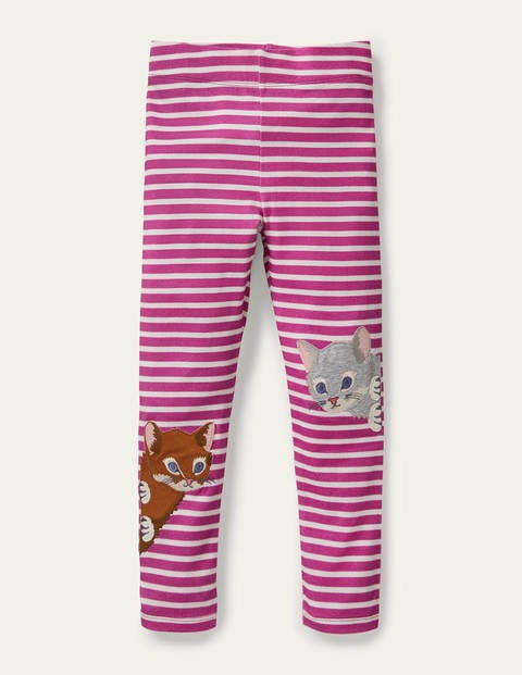 Fun Appliqué Leggings - Tickled Pink/ Ivory Cats