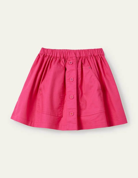 Button Front Woven Skirt - Party Pink