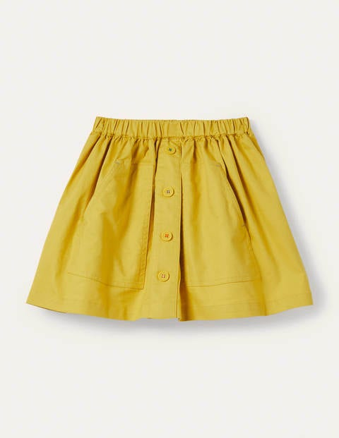 Button Front Woven Skirt - Sweetcorn Yellow