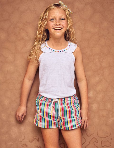 Heart Pocket Shorts - Rainbow Stripe