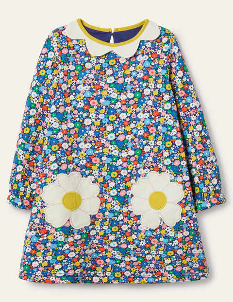 Cosy Floral Appliqué Dress - Elizabethan Blue Flowerpatch