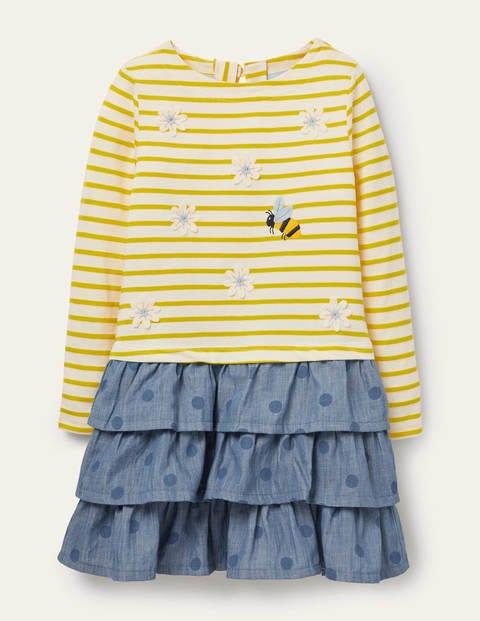 Kleid mit Mustermix - Maisgelb, Gänseblümchen