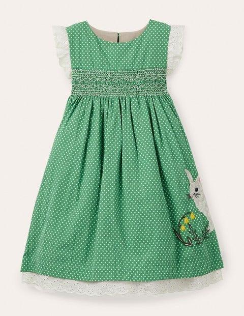 Bunny Smocked Dress - Iguana Green Spot Bunny