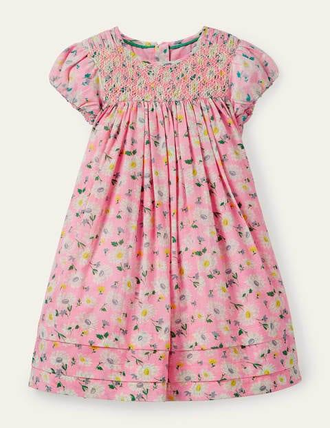 Floral Puff Sleeve Smock Dress - Pink Lemonade Vintage Daisy