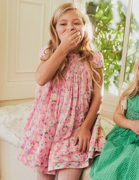 Smocked Puff Sleeve Dress