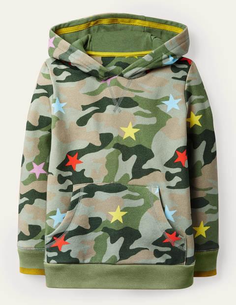 Kapuzenpullover mit Sternen- und Camouflagemuster