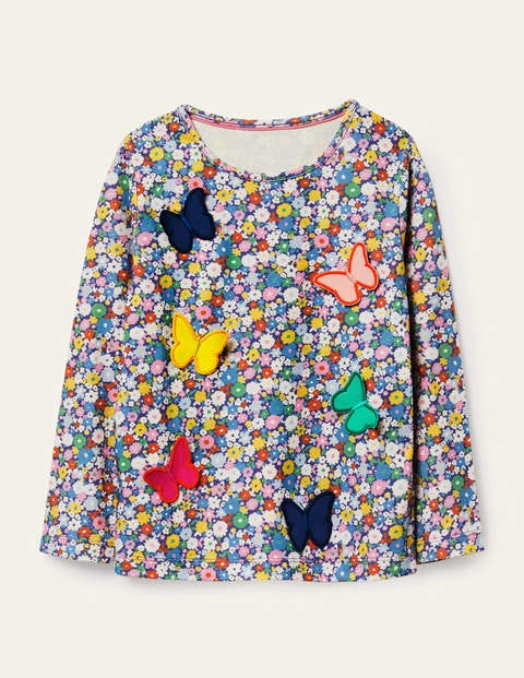 3D Flutter T-shirt - Blue Flowerpatch Butterflies
