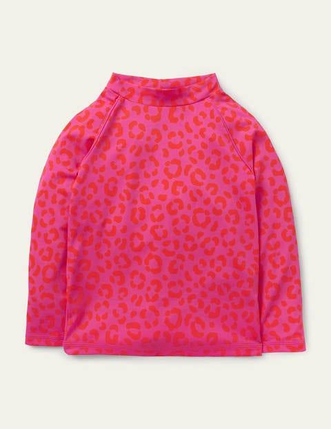 Long-sleeved Rash Vest - Fuchsia Pink Leopard