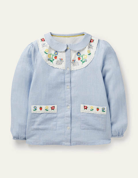 Embroidered Yoke Woven Top - Elizabethan Blue Ticking