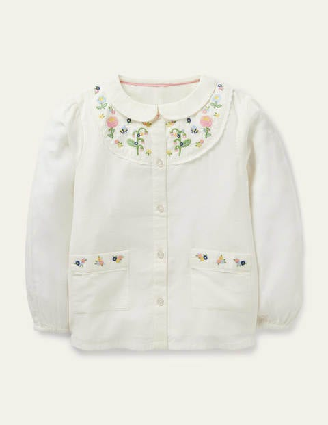 Embroidered Yoke Woven Top - Ivory