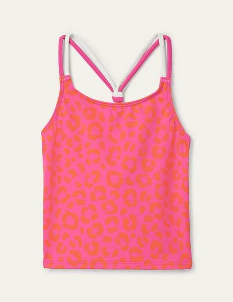 Patterned Tankini Top - Fuchsia Pink Leopard
