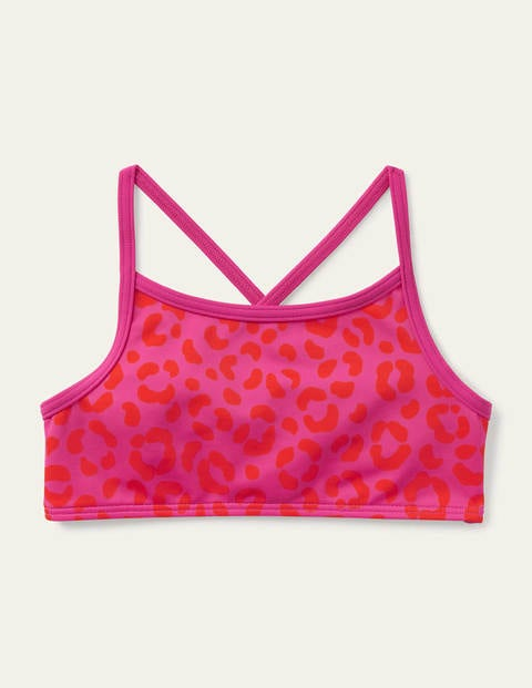 Patterned Bikini Top - Fuchsia Pink Leopard