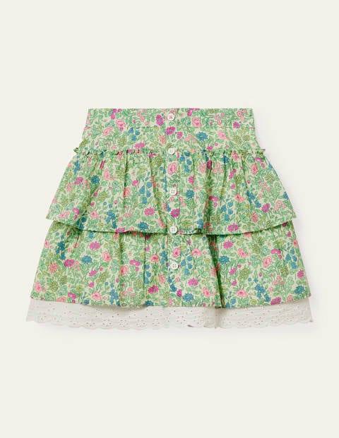Button-through Ruffle Skirt - Multi Vintage Flowerbed