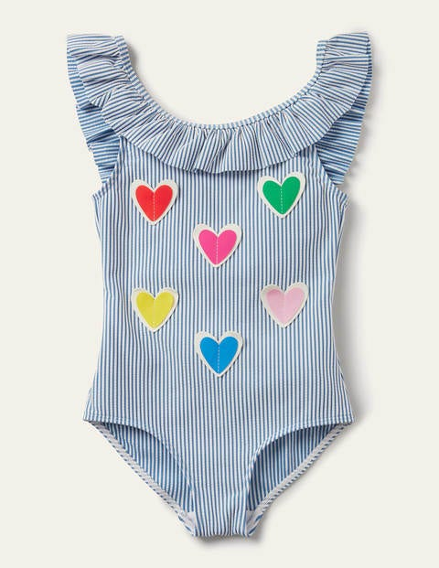 Frill Swimsuit - Blue Seersucker Hearts