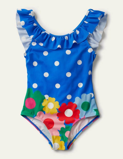 Frill Swimsuit - Pool Blue Floral