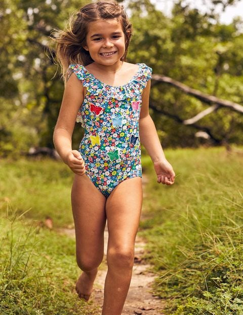 Frill Swimsuit - Flowerpatch Butterflies
