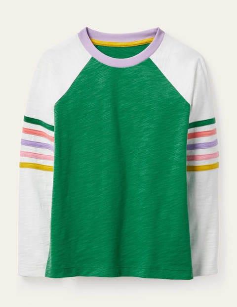 Stripe Slub Raglan T-shirt - Sapling Green