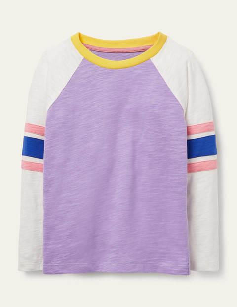 Stripe Slub Raglan T-shirt - Cool Violet Purple