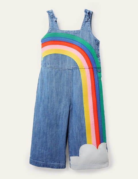 Latzhose mit Trägern zum Binden - Mittleres Vintageblau/Denim, Regenbogen
