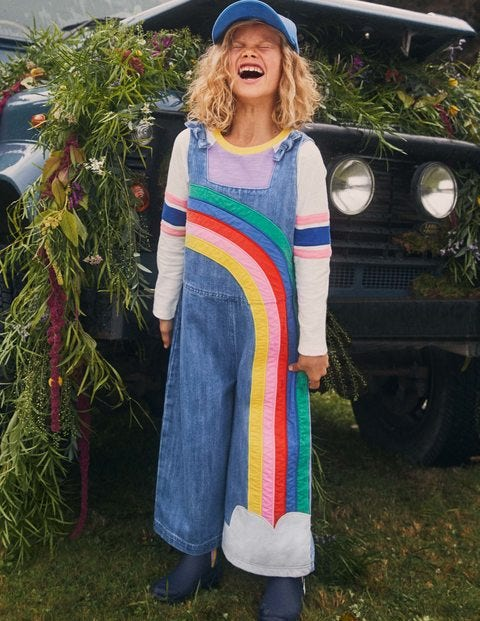 Tie Shoulder Dungarees - Mid Vintage Denim Rainbow