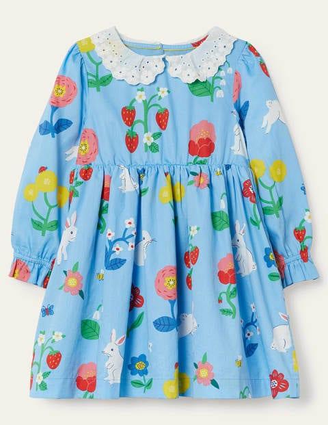 Kleid mit Lochstickerei am Kragen - Surfbrett-Blau ...
