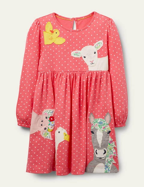 Animal Appliqué Dress - Lollipop Pink Peeping Animals
