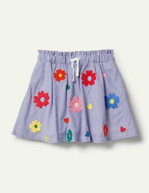 Bouclé Flower Skirt - Elizabethan Blue Ticking