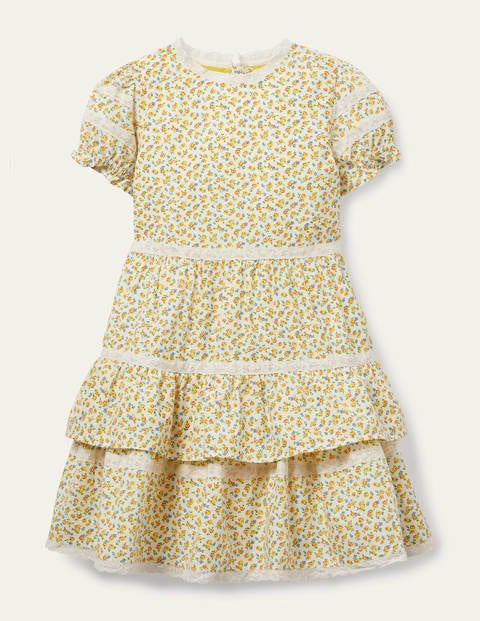 Lace Ditsy Floral Dress - Sweetcorn Yellow Tiny Rose