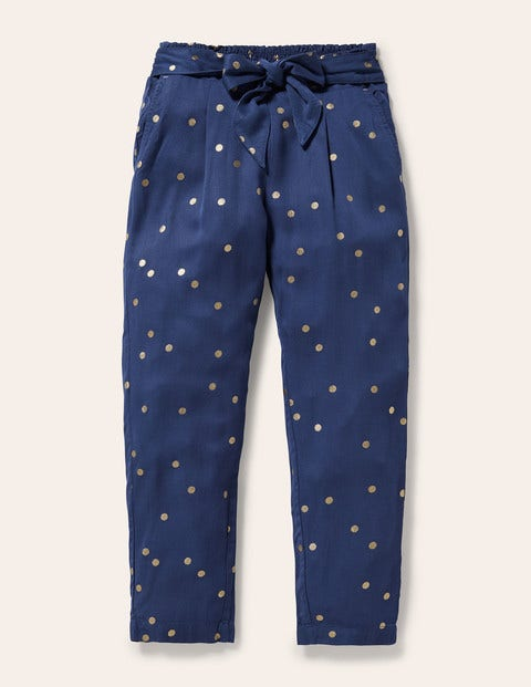 Tie Waist Printed Pants - Starbaord Blue and Gold Spot