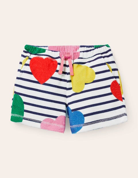 Towelling Shorts - Multi Hearts